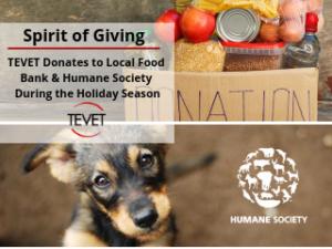 Spirit of Giving - TEVET Makes Multiple Donations Before 2018 Holiday Season